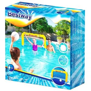 Arco Inflable Con Red Y Pelota Water Polo + Inflador Bestway