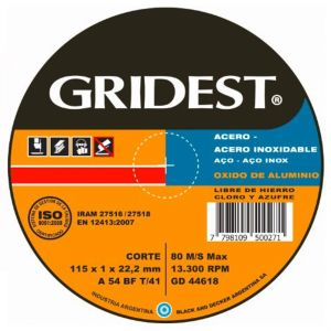 Disco Corte OX. de Alum. 115x1.0x22 GD44618 - Gridest