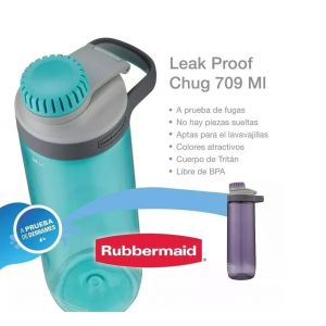 Botella Rubbermaid Leak Proof Chug Tapa Rosca 709 Ml Aqua