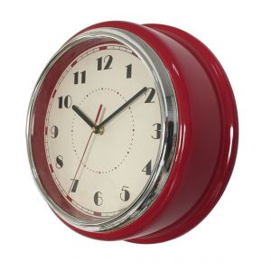 Reloj De Pared Retro Vintage Color Rojo