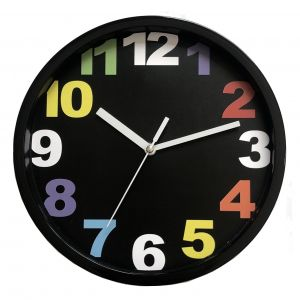 Reloj de Pared Negro con Numeros de Color 20cm